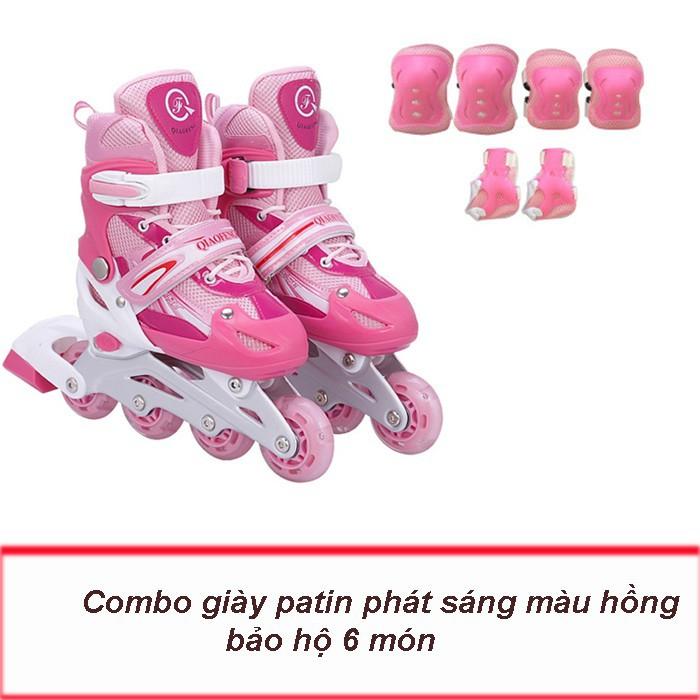 Mua Giày trượt patin, an toàn cho trẻ em, bánh xe phát sáng nhiều màu+ TẶNG GIÁP BẢO VỆ 6 MÓN