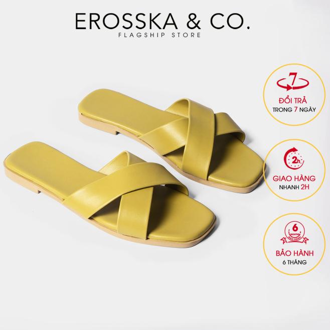 Dép nữ đế bệt Erosska thời trang mũi vuông thiết kế phối dây quai chéo DE029 (YE) giá rẻ