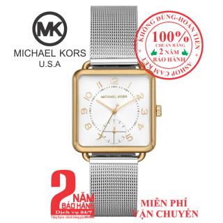 Đồng hồ nữ MK MK3846, vỏ màu Vàng (Gold), mặt màu Bạc (Silver), dây kim loại màu bạc, mặt vuông, size 31mm- MK3846 thumbnail