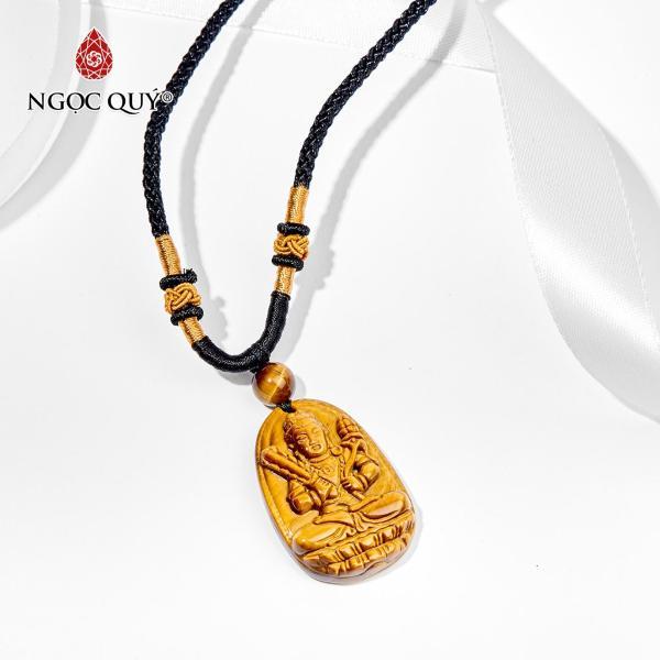[HCM]Mặt Dây Chuyền Phật Đá Mắt Hổ Hư Không Tạng Bồ Tát Tuổi Sửu Dần 3.6x2.3 cm (màu vàng nâu) - Ngọc Quý Gemstones