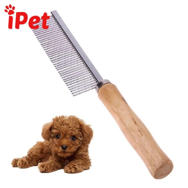 Lược Inox Chải Lông Rối Cán Gỗ Cho Thú Cưng Chó Mèo - iPetshop
