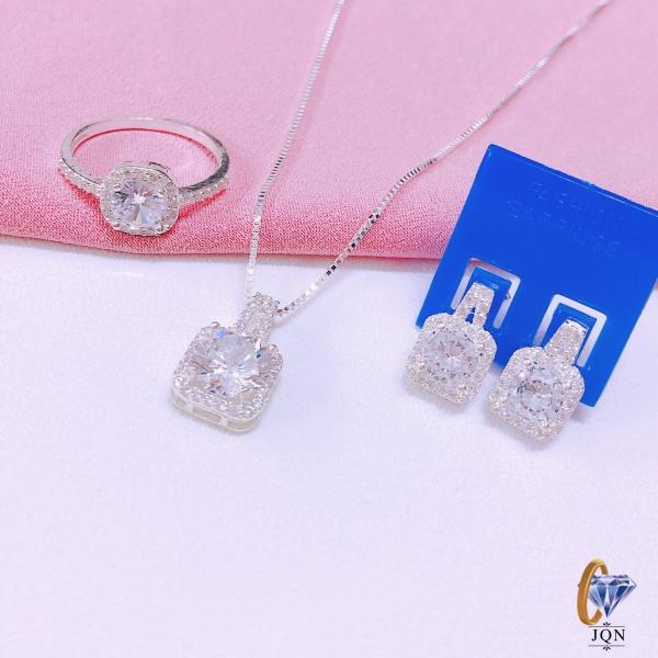 Bộ trang sức bạc thật nữ đính đá vuông nhỏ gồm 3 món dây chuyền, nhẫn, bông tai, mẫu mã đẹp-JQN gian hàng chính hãng cam kết Bạc chuẩn, Chất lượng không lo đen xỉn