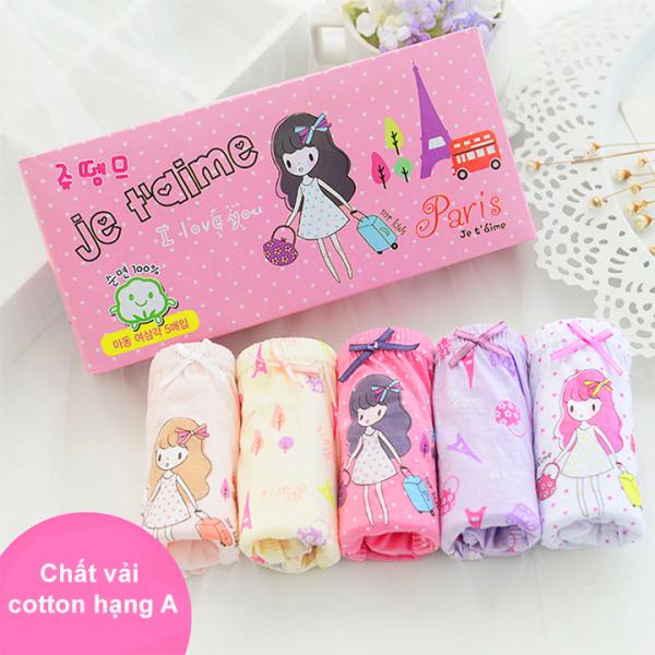 Giá bán Set 5 quần chip cho bé gái, Hộp 5 quần lót kháng khuẩn cho bé gái 1-12 tuổi chất cotton thoáng khí xuất Hàn cao cấp BBShine – C024