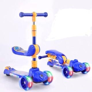 [Giá sỉ] Xe trượt scooter có nhạc có đèn kiêm xe chòi chân 2 trong 1 (mẫu mới có thêm giỏ, chống ghế) thumbnail