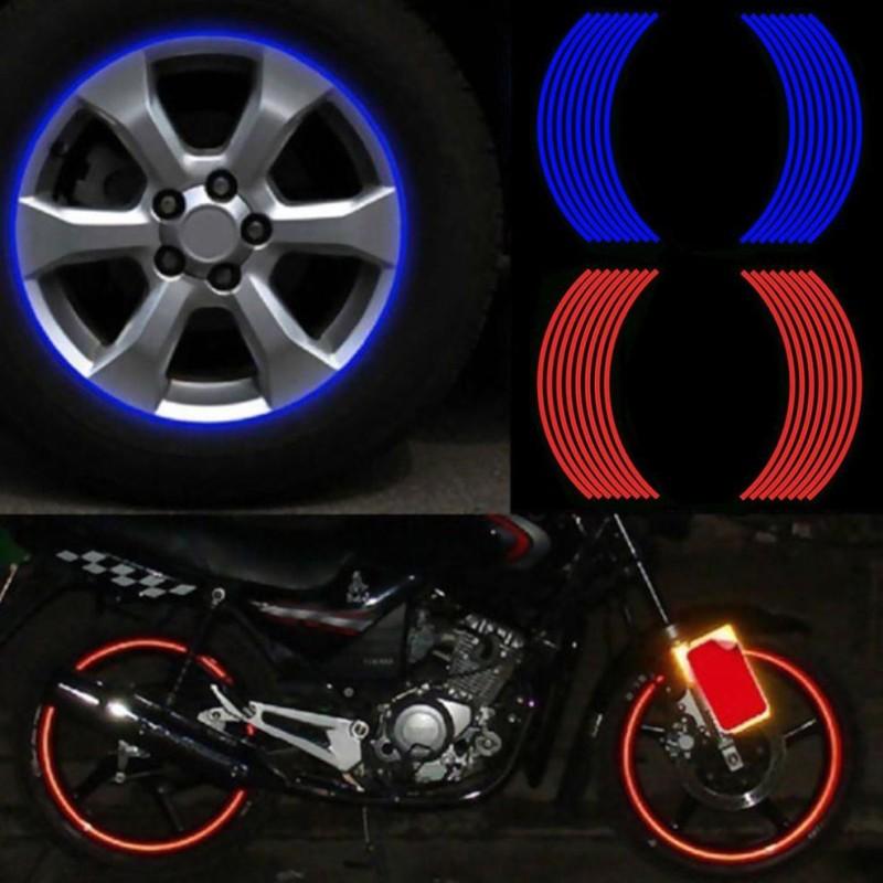 Combo 16 miếng dán vành bánh xe máy trang trí phản quang tiện dụng sử dụng xe máy.