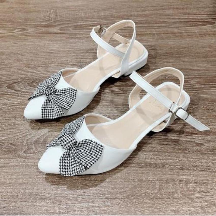 Giày sandal da đế bệt nơ caro giá rẻ