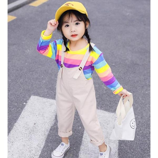 Giá bán Set đồ yếm quần phối áo thun sọc ngang nhiều màu tay dài cho bé gái 3-8 tuổi phong cách năng động BBShine - S018