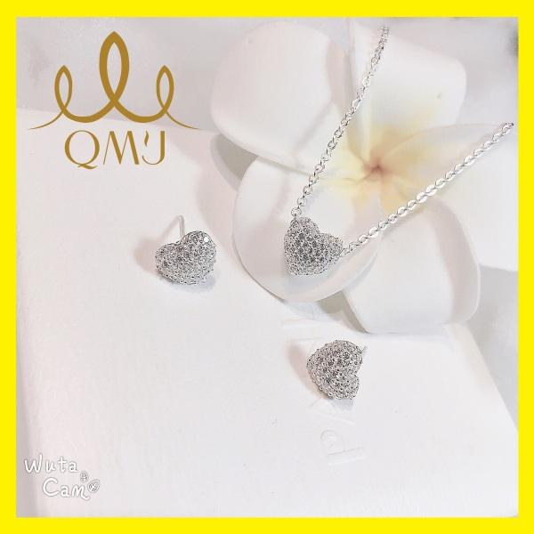 Bộ bạc xinh QMJ Tim mùa thu ấm áp - nạm đá siêu đẹp, bạc chuẩn 925 cao cấp [CHUẨN BẠC] QB021