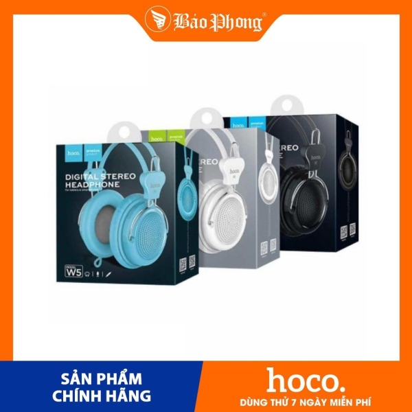Tai nghe chụp đầu Manno HOCO W5 có micro chân 3.5mm Dành cho điện thoại i-Phone iP Huawei Samsung Oppo Realme