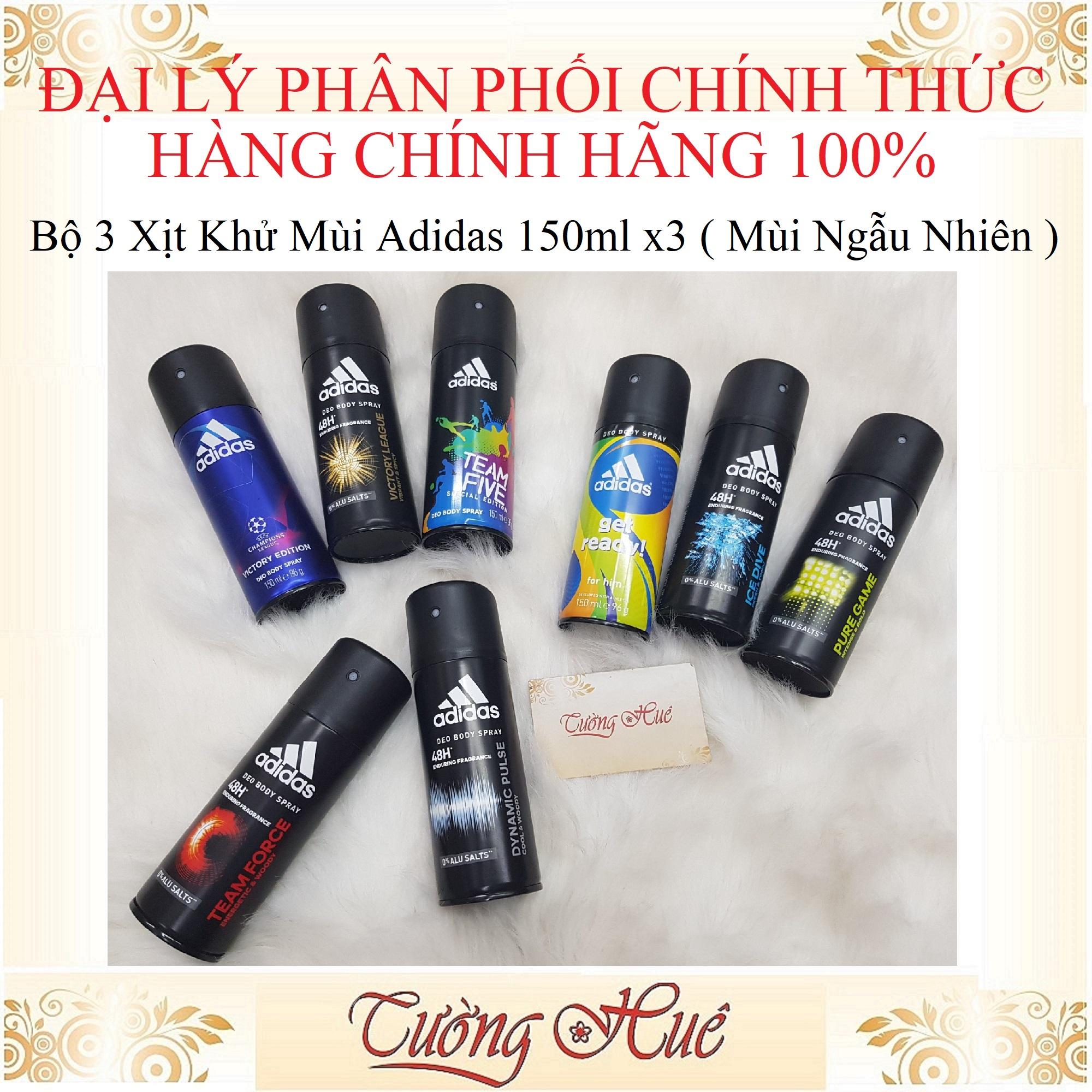 Bộ 3 Xịt Khử Mùi Cho Nam Adidas Deo Body Spray- 150ml x3 ( Mùi Ngẫu Nhiên )
