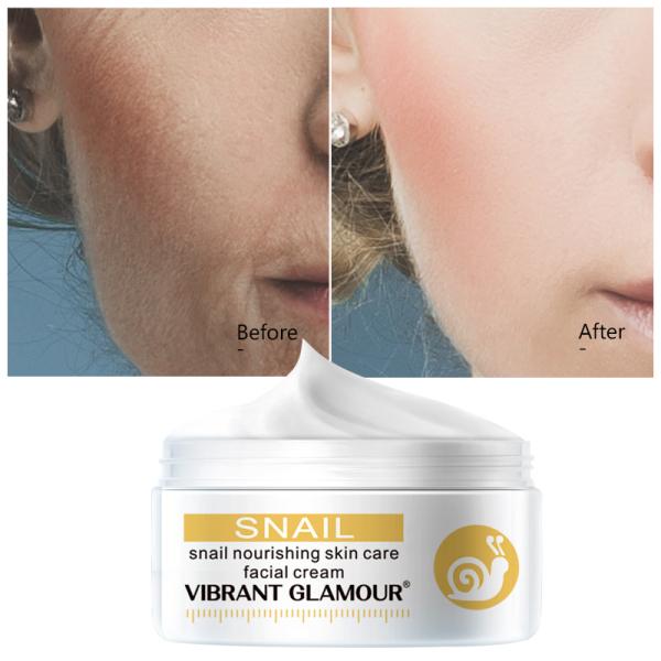 VIBRANT GLAMOUR Nature Republic Snail Solution Face Cream Collagen Anti-Wrinkle Anti-Aging Facial Cream Moisturizer Whitening Hyaluronic Acid Nourishing Skin Care 30g - INTL