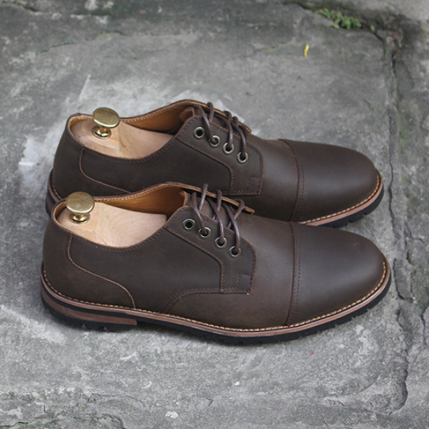 Giày da nam da bò cao cấp men405 nâu sáp hàng chính hãng Menup, da bò thật, bảo hành 1 năm giá rẻ