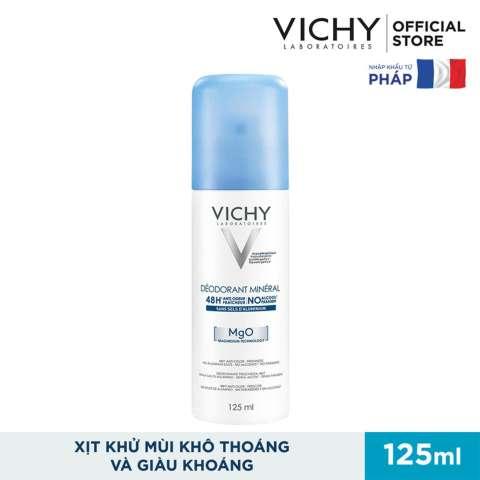 Xịt khử mùi giàu khoáng, giúp vùng da dưới cánh tay khô thoáng Vichy DÉODORANT MINÉRAL 125ml [QC-Lazada]