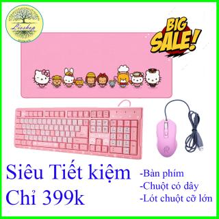 Bàn phím gaming,bàn phím giả cơ Hello Kitty cùng lót chuột gaming cỡ lớn và chuột gaimg có dây, Bàn phím gaming, Bàn phím máy tinh,Combo 3 sản phẩm cực đẹp thumbnail
