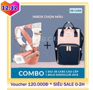 COMBO Địu ngồi em bé cao cấp 3BCARE và Balo bỉm sữa DOKOCLUB cho mẹ và bé [cam kết chính hãng] thumbnail