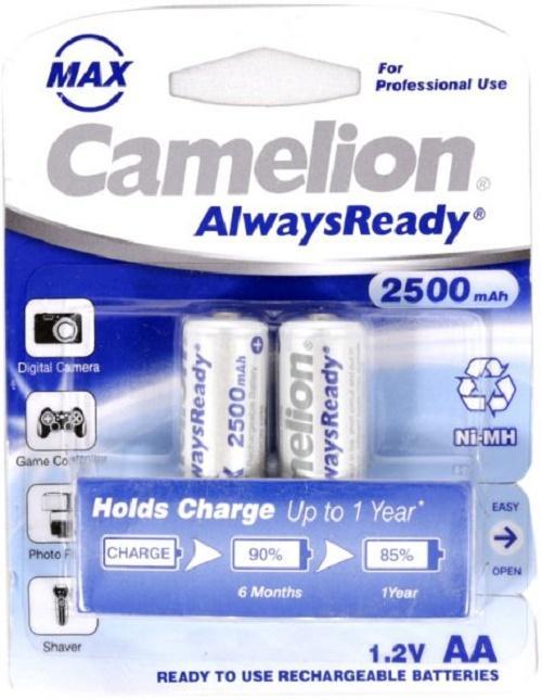 Giá Vỉ 2 Pin Sạc Camelion 1.2V AA 2500 mAh máy ảnh, thiết bị điều khiển ( Trắng ) BT84