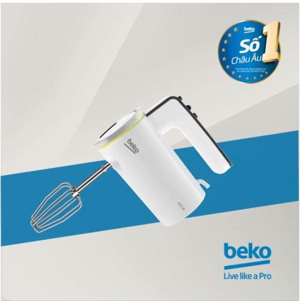 Máy đánh trứng cầm tay Châu Âu Beko HMM7420W - Đạt tiêu chuẩn VSATTP của Bộ Y tế - Công suất 425W - 5 cấp tốc độ - hàng chính hãng bảo hành 12 tháng