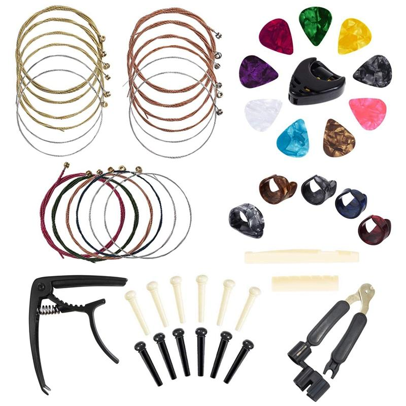 Guitar Accessories Kit 49 Pcs Guitar Tool Including Guitar Picks, Capo, Acoustic Guitar Strings, String Winder, Bridge Pins, Pin Puller, Guitar Bones & Pick Holder, Finger Picks