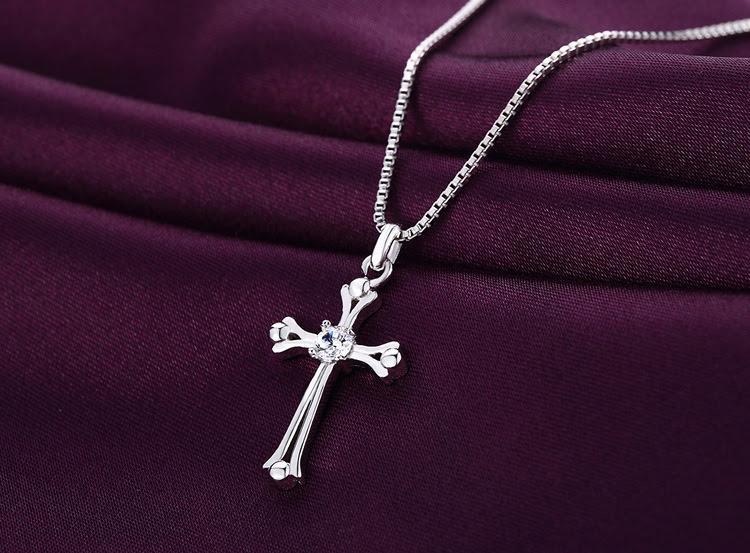 Dây chuyền chữ thập PANMILA - Dây chuyền nữ mặt chữ thập đính pha lê [TS-MDC-X008]