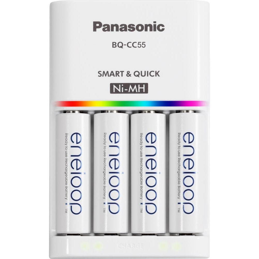 Bộ Sạc Nhanh Thông Minh Tự Ngắt Panasonic Eneloop BQ CC55 Kèm 4 Pin - Tặng Kèm Hộp Đựng Pin ( Sạc Được Pin Sạc AA Và Pin Sạc AAA ) Có Giá Cực Kỳ Tiết Kiệm