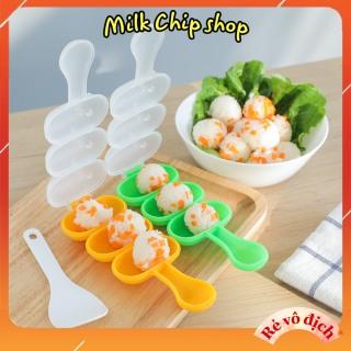 Khuôn cơm cho bé, khuôn lắc cơm tạo hình viên tròn ăn ngon miệng (kèm thìa, đủ màu) thumbnail