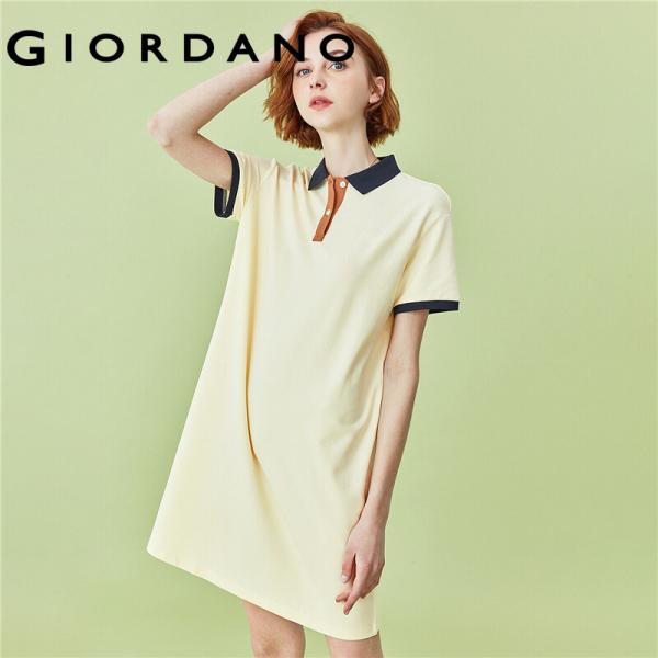 Đầm thun cotton nữ POLO thêu tương phản cổ bẻ tay ngắn co giãn thoải mái phong cách thể thao năng động FREESHIP GIORDANO 05460483 - INTL