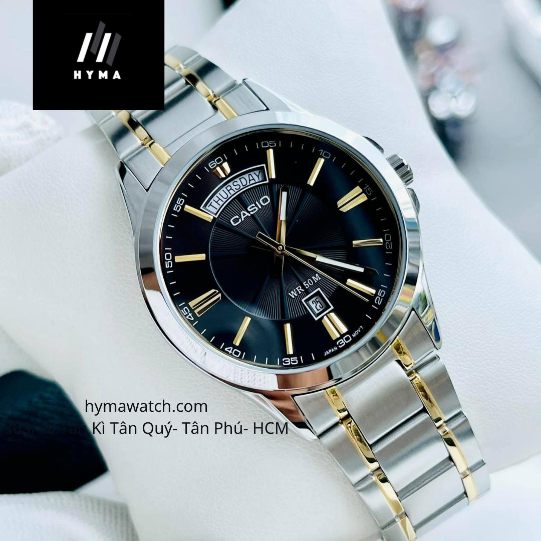 Đồng hồ nam dây thép Demi - Mặt đen Casio MTP 1381G-1AV Bảo hành 1 năm Hyma watch