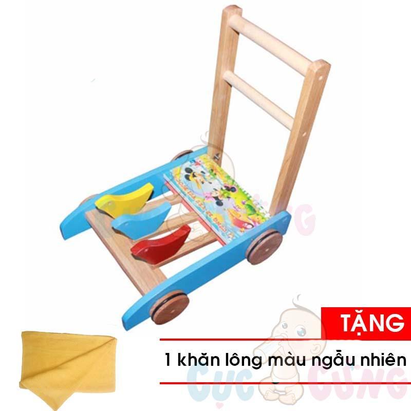 Xe tập đi bằng gỗ Song Son Tặng Khăn tắm cotton siêu mềm màu ngẫu nhiên 25x40cm - xe day tap di cho be