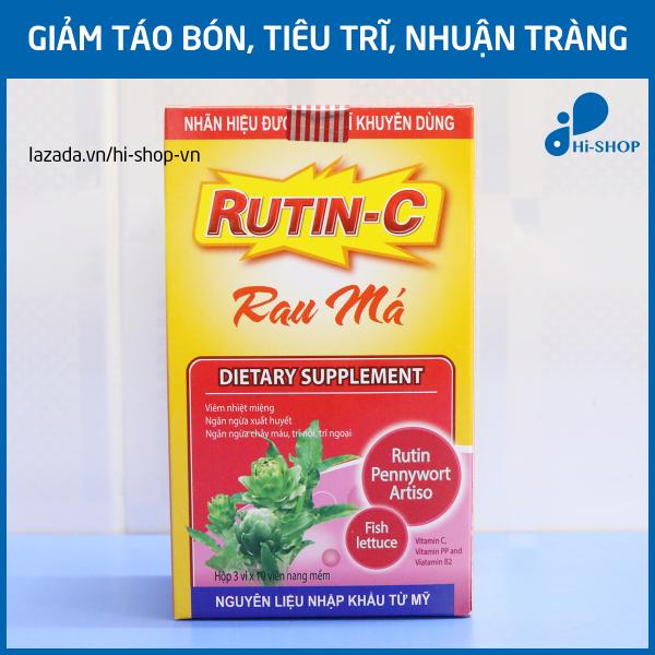 Viên uống Rutin C Rau Má giảm táo bón, tiêu trĩ, giảm viêm nhiệt miệng, giảm nóng trong người - Hộp 30 viên