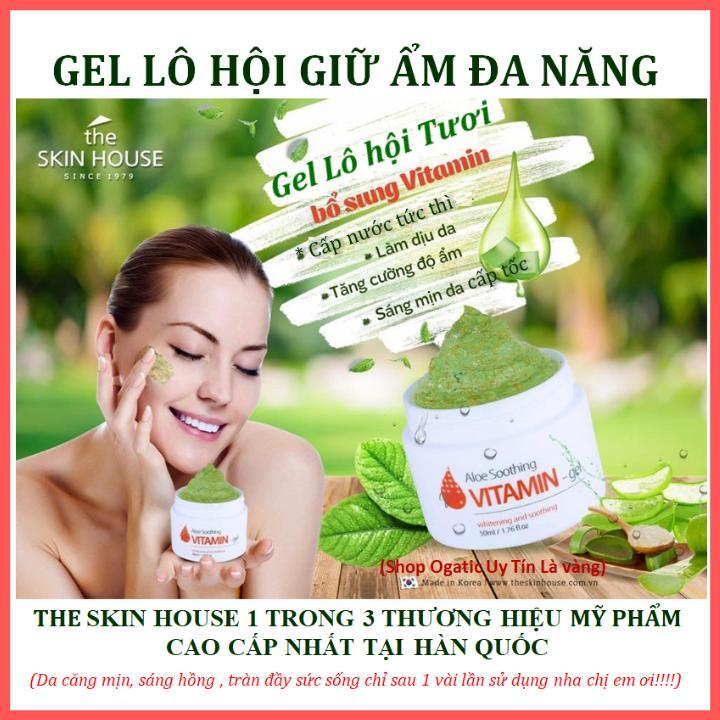 Gell lô hội dưỡng đa năng Mát Chống Lão Hóa Làm Sáng Da Tăng Sức Đề Kháng ALOE SOOTHING VITAMIN GEL - The Skin House cao cấp