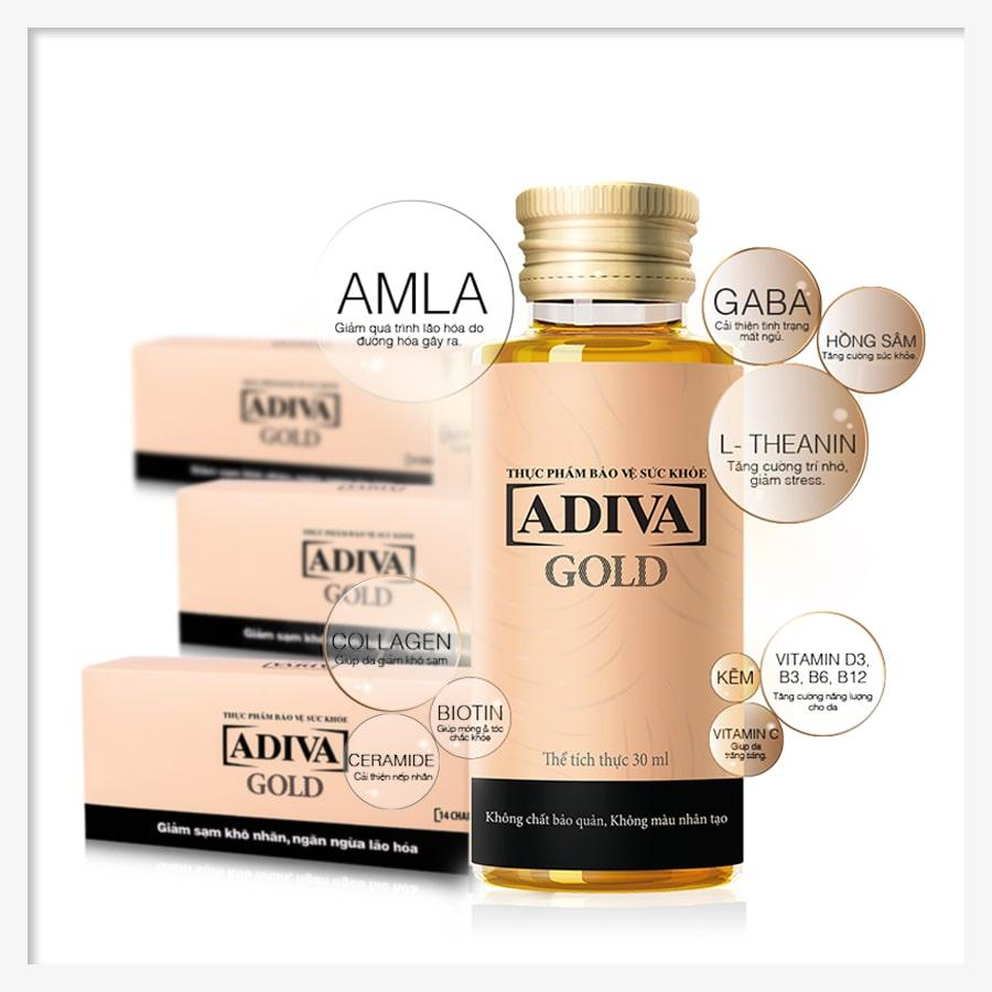 Combo 3 Gold Adiva Collagen (14chai x hộp), Sức sống làn da - Tự tin như Diva nhập khẩu