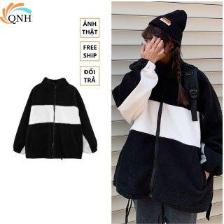 Áo khoác lông cừu 2 mặt, chất dày dặn cực ấm,phong cách harajuku hàn quốc thumbnail