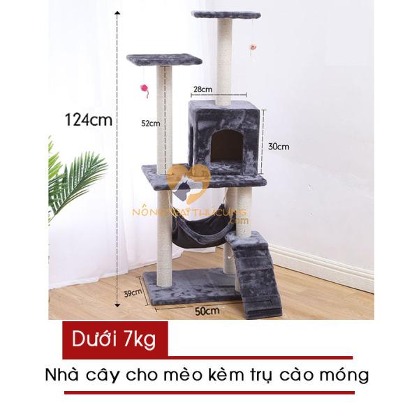 Cat Tree – Nhà Cây Cho Mèo Kèm Trụ Cào Móng (Màu kem/ nâu) – Hàng có sẵn - Mã 047707