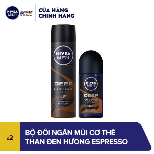 Combo Ngăn mùi cơ thể Nivea Than Đen hương Espresso (Xịt ngăn mùi 150ml & Lăn ngăn mùi 50ml) cao cấp
