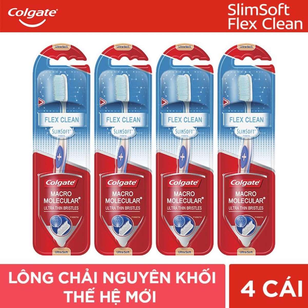 Combo 4 Bàn chải đánh răng Colgate SlimSoft Flex Clean THAN ĐEN nhập khẩu