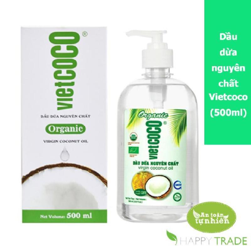 Dầu dừa nguyên chất ép lạnh Organic VIETCOCO 500ml (chai vòi ấn) nhập khẩu