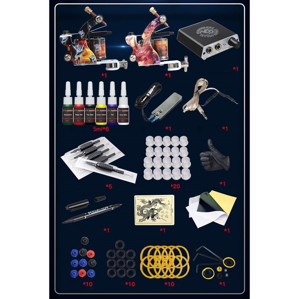 Trọn bộ kit máy xăm hình DRAGON tattoo 2 machine 15 chi tiết