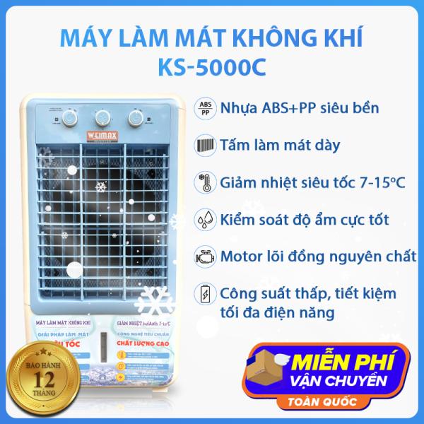 Quạt điều hòa KS-5000C tiết kiệm điện năng, công suất 145W, giảm nhiệt siêu tốc 7-15 độ C, tặng kèm 2 hộp đá khô giúp làm mát hiệu quả hơn, thùng chứa nước lớn 40L, máy làm mát không khí kiểm soát độ ẩm tốt