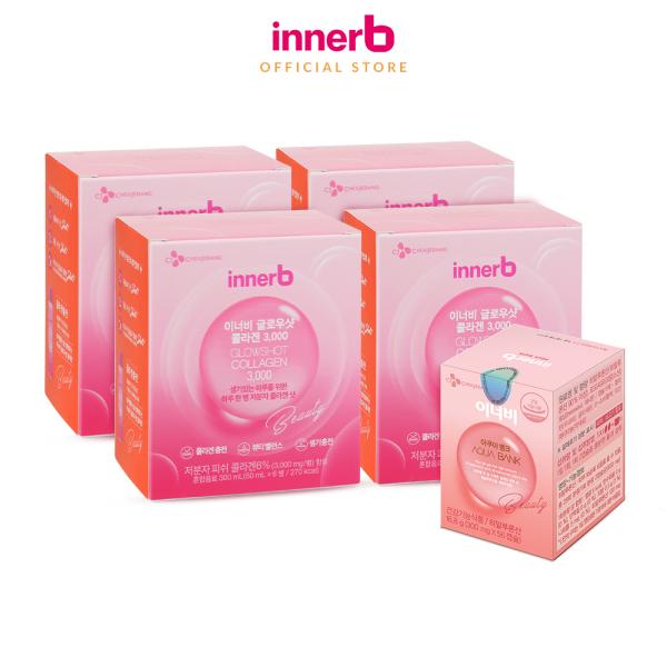 Combo giữ ẩm, sáng da InnerB Aqua Bank lọ 56 viên & nước uống Collagen (4 hộp x 6 chai) nhập khẩu