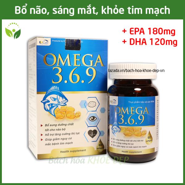 Viên dầu cá Omega 369 bổ não, sáng mắt, khỏe tim mạch - Hộp 60 viên Omega 1000mg, EPA 180mg, DHA 120mg giá rẻ