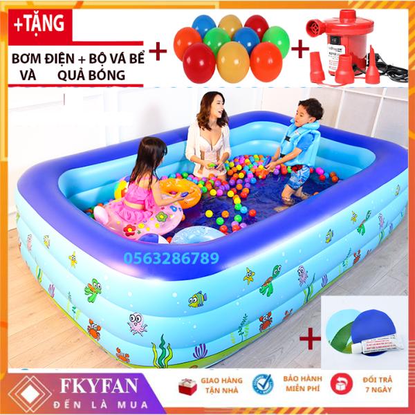 [TẶNG BƠM ĐIỆN+ quà] Bể phao bơi cho bé 1M,1m5,1m8 bể bơi trẻ em , hồ bơi cho bé 3 tầng hình chữ nhật  cho bé - Hồ bơi cho trẻ 1M5m BBM5