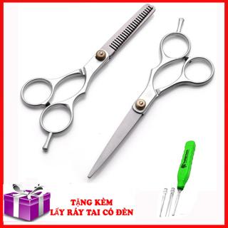 Kéo Cắt Tóc Và Kéo Tỉa cao cấp-Combo kéo cắt tỉa tóc tiện lợi Tặng kèm lấy ráy tai có đèn thumbnail