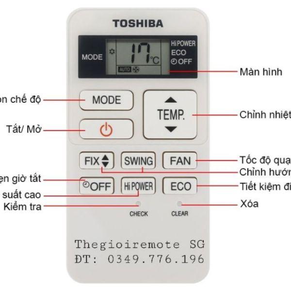 Bảng giá REMOTE ĐIỀU HÒA MÁY LẠNH TOSHIBA