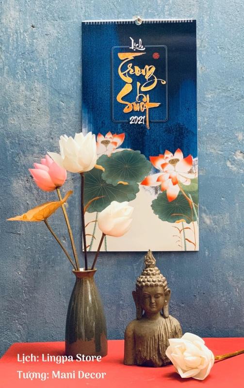 Lịch treo tường Trong Suốt 2021 - Lịch thư pháp viết tay phong cách tranh thủy mặc với thông điệp truyền cảm hứng Bình an, Trí tuệ, Từ Thiện