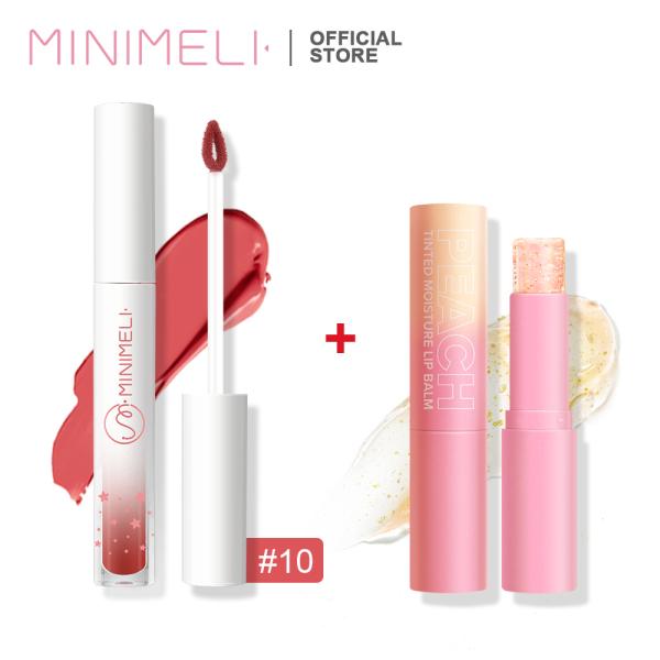 MINIMELI Không thấm nước Lâu dài Bộ son môi, (1 Son môi dạng lỏng + 1 Son dưỡng môi đổi màu) - INTL