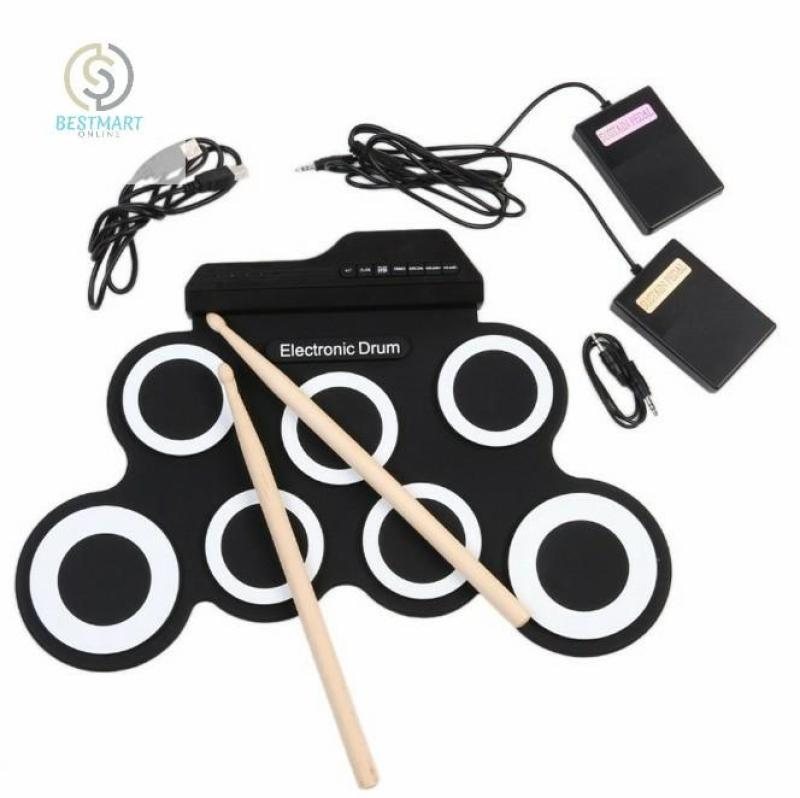 BestMart Bộ trống điện tử Electronic Drum Portable USB (Black White)