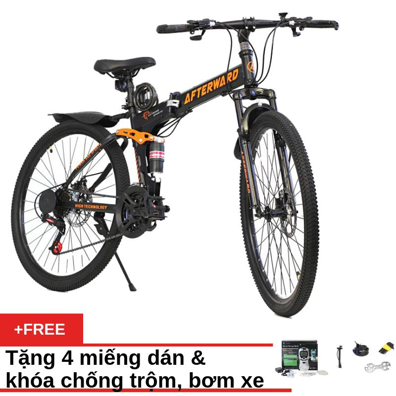 Mua Xe đạp gấp địa hình Air Bike ATW (Đen) + Tặng vật lý 4 miếng dán, khóa chống trộm và bơm xe