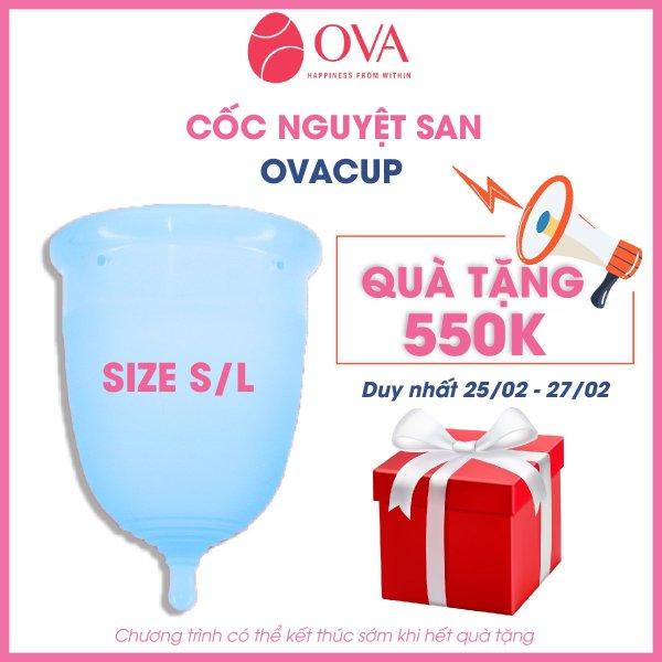 Cốc nguyệt san Ovacup nhập khẩu chính hãng Made In USA 100% Silicone y tế mềm chống tràn đạt tiêu chuẩn FDA Hoa Kỳ (màu xanh dương) giá rẻ