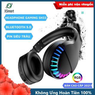 Tai nghe bluetooth chụp tai không dây gaming headphone có đèn LED đổi màu SH33 Super Bass chơi game nghe nhạc cực đã cho điện thoại máy tính laptop pc máy tính bảng thumbnail