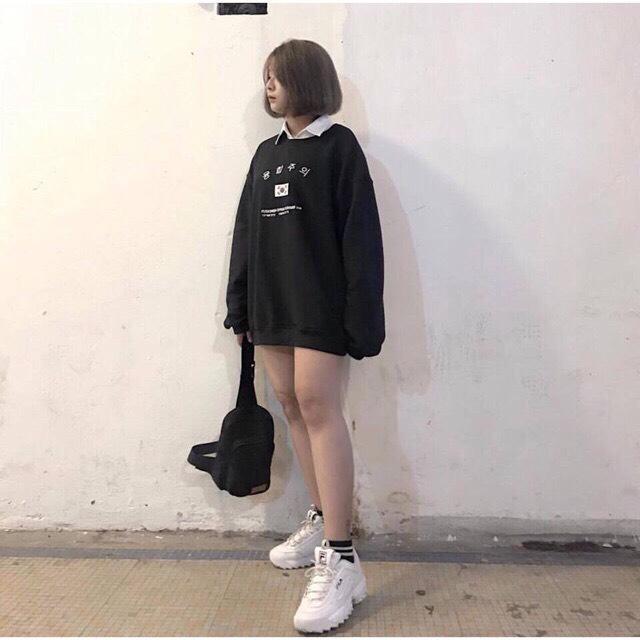Áo Thun Sweater In Chữ Hàn ngang trước CỜ HÀN m3102